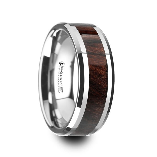 THORSTEN - KEVAZ Bubinga Wood Inlaid Tungsten Carbide Ring with Bevels