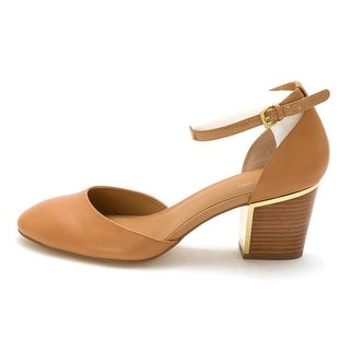 Calvin Klein Womens Calvin Klein Leather Round Toe Ankle Strap Classic Pumps