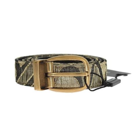 Dolce & Gabbana Gold Jacquard Leather Men's Belt - 95-cm-38-inches