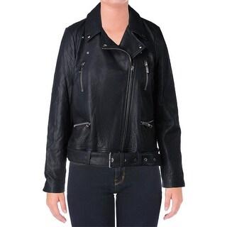 Elizabeth and James Womens Motorcycle Jacket Lambskin Leather Zipper - l