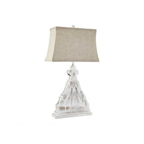 Double Corbel with White Linen Shade - 12 W x 7 D x 27 H