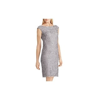 Link to RALPH LAUREN Gray Sleeveless Above The Knee Sheath Dress  Size 12 Similar Items in Dresses
