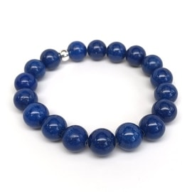 Blue Jade 'Eternal' stretch bracelet Sterling Silver