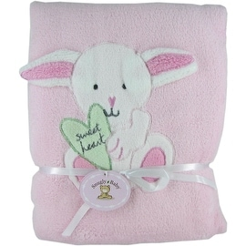 Pink Fleece Baby Blanket with Bunny