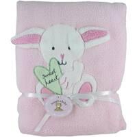 """Pink Fleece Baby Blanket with Bunny - 30"""" x 40"""""""
