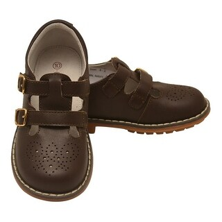 L'Amour Little Girls Brown Double T-Strap Buckled Leather Shoes