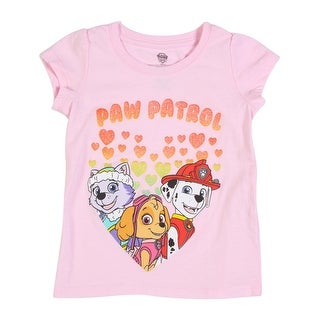 Paw Patrol Toddler Girls' Short Sleeve Tee Shirt, Light Pink Hearts