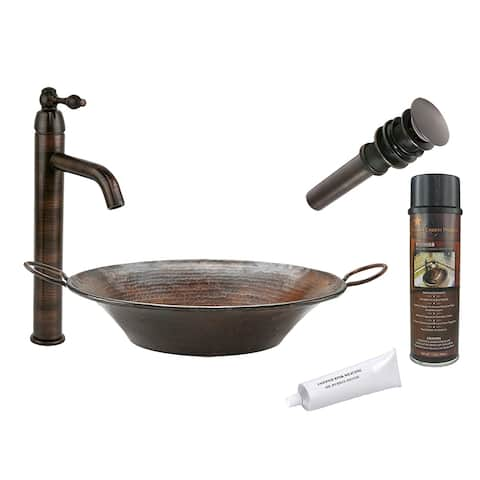 Premier Copper Products BSP1_VR16MPDB Vessel Sink, Faucet and Accessories Package