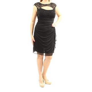 BETSY & ADAM Womens Black Cut Out  Sequined Lace Cap Sleeve Jewel Neck Above The Knee Sheath Cocktail Dress  Size: 12