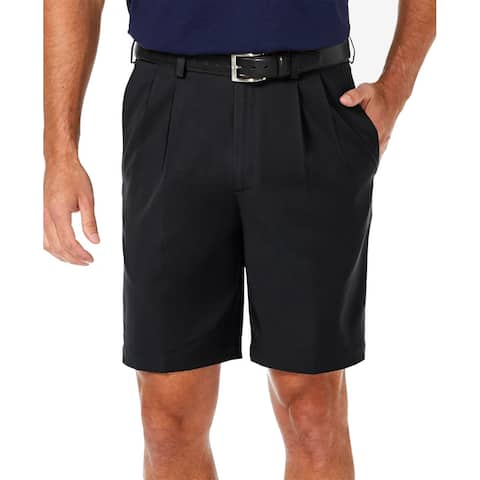 Haggar Mens Shorts Black Size 38 Pleated Stretch Quick Dry Cool Pro