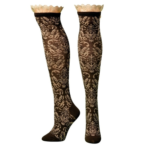 Blazin Roxx Socks Womens Fashion Knee High Floral Lace Black