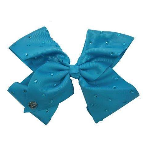 JoJo Siwa Large Cheer Hair Bow Turquoise w/Rhinestones
