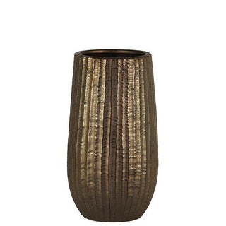 Cylindrical Stoneware Vase With Engraved Zigzag Design, Small, Bronze