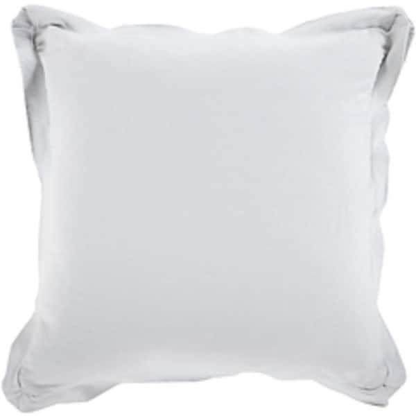 "20"" Light Gray Flanged Trim Decorative Throw Pillow - Down Filler"