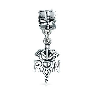 Bling Jewelry Nurse Caduceus Dangle Bead Charm .925 Sterling Silver