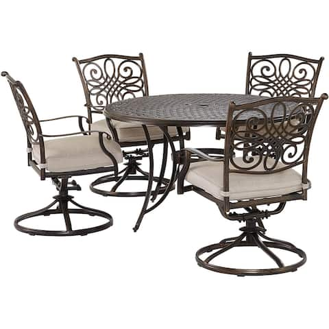 Agio Renditions 5-Piece Set with 4 Swivel Rockers and 48-in. Cast-Top Table, Featuring Sunbrella® Fabric in Silver