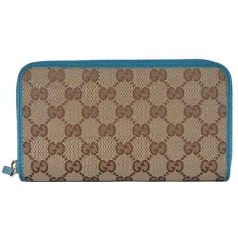 """Gucci 363423 Beige Colbalt GG Guccissima Canvas Zip Around Wallet Clutch - 7.75"""" X 4"""" X 1"""""""