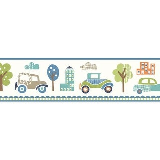 Brewster TOT46342B Gatsby Blue City Scape Trail Border Wallpaper