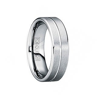 LUCILIUS Brushed Tungsten Comfort Fit Band with Single Groove & Beveled Edges by Crown Ring