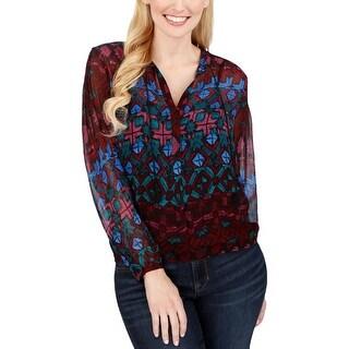 Lucky Brand Womens Blouse Split Neck Long Sleeve