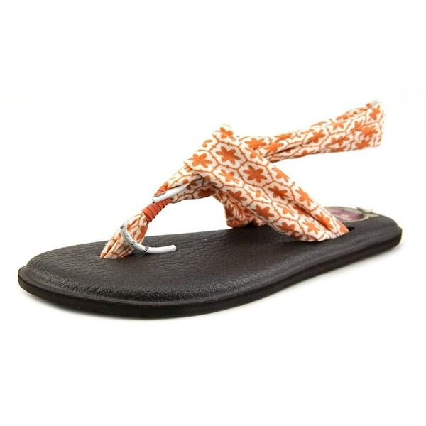 Sanuk Yoga Sling 2 Prints Women Open Toe Canvas Orange Thong Sandal