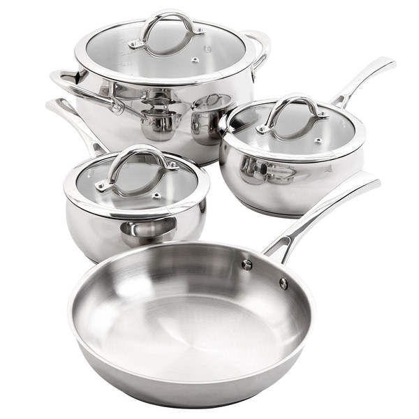 Oster 7 Piece Brushed Stainless Steel Cookware Set. Opens flyout.