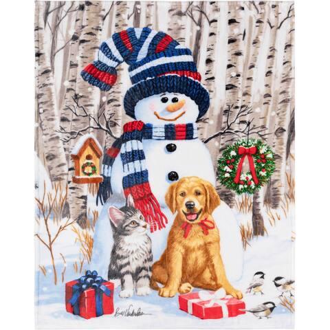 Throw Christmas Snowman & Friends