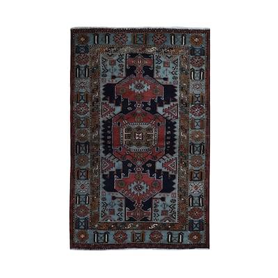 "Shahbanu Rugs New Persian Hamadan Natural Wool Hand Knotted Oriental Rug (4'2"" x 6'6"") - 4'2"" x 6'6"""