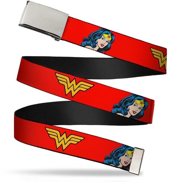 Blank Chrome Buckle Wonder Woman Logo Face Repeat Red Webbing Web Belt