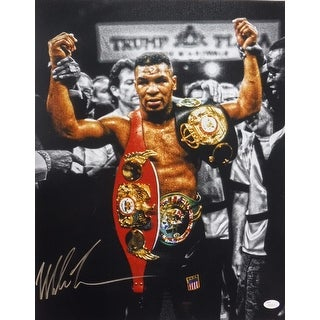 Mike Tyson Autographed Boxing 16x20 Photo (Belts in Gold) JSA