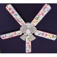 White Planes Trains Trucks Print Blades 52in Ceiling Fan Light Kit - Multi