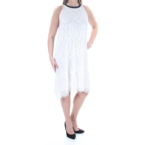 Shop Womens Ivory Sleeveless Knee Length Shift Formal Dress Size 14