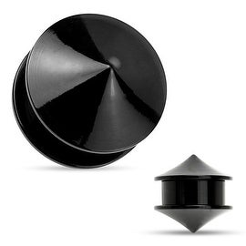 Double Cones Black Acrylic Screw Fit Stash Plug (Sold Individually)