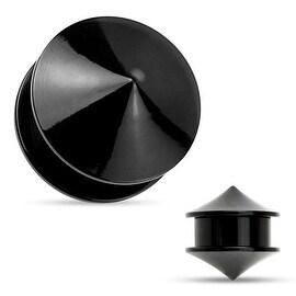 Double Cones Black Acrylic Screw Fit Stash Plug (Sold Individually)