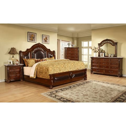 Best Master Furniture Traditional Cherry 5 Piece Bedroom Set