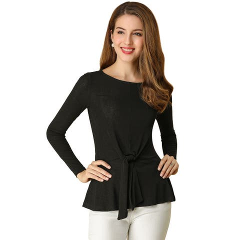 Women's Tie Front Boat Neck Long Sleeve Casual Blouses Top - Black