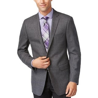 Calvin Klein Mens Two-Button Suit Jacket Wool Houndstooth