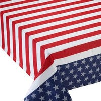 "Decorative Red and Blue Rectangular Stars & Stripes Jacquard Tablecloth 60"" x 84"""
