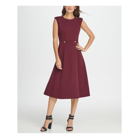 DKNY Burgundy Sleeveless Midi Fit + Flare Dress Size 4