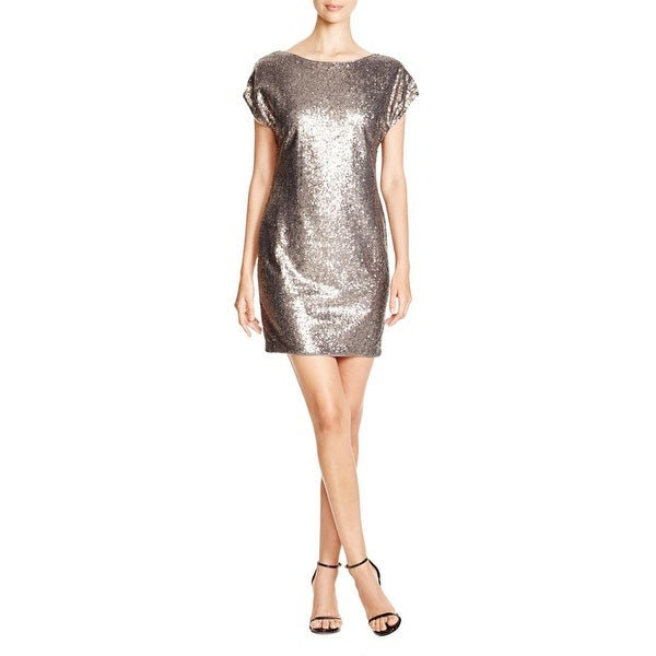 Vera Wang Womens Cocktail Dress Sequined Scoop Back