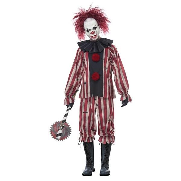 Scary Clown Halloween Costume.Adult Scary Nightmare Clown It Halloween Costume