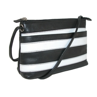 CTM® Women's Striped Leather Crossbody - Black White - One size