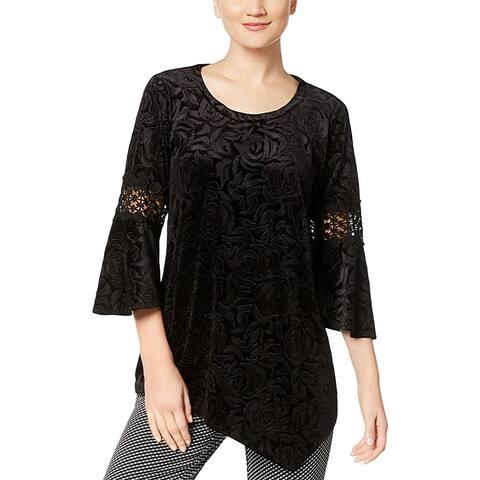NY Collection Womens Pullover Top Velvet Crochet