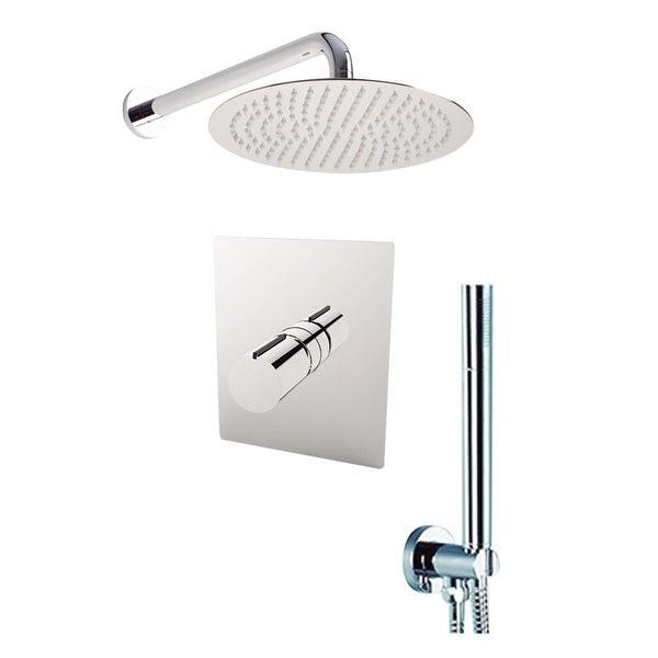 "Aquamoon Barcelona Shower Set Chrome With 8"" Showerhead, Handshower and Wall Shower Arm"
