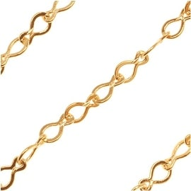 Bright Gold Plated Teardrop Krinkle Chain 2mm Bulk By The Foot