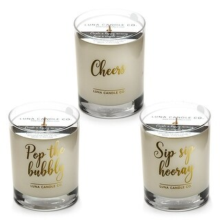 Fragrant Premium Soy Wax Jar Candles, Peach Belini (Set of 3)