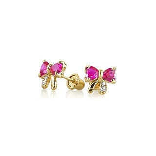 Bling Jewelry 14K Gold Pink CZ Bow Baby Screwback Earrings