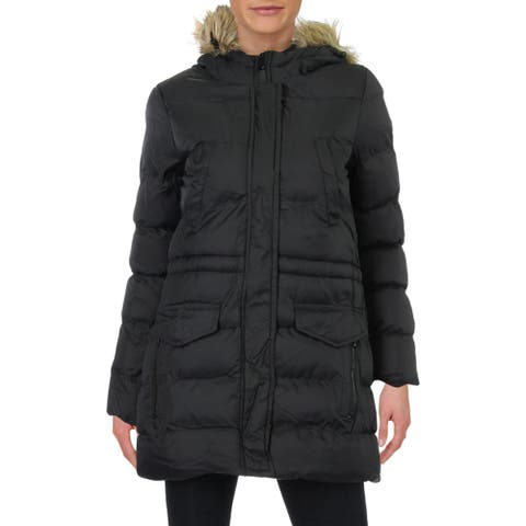 Marc New York by Andrew Marc Womens Harriet Puffer Coat Fur Trim Hooded - Black - XS