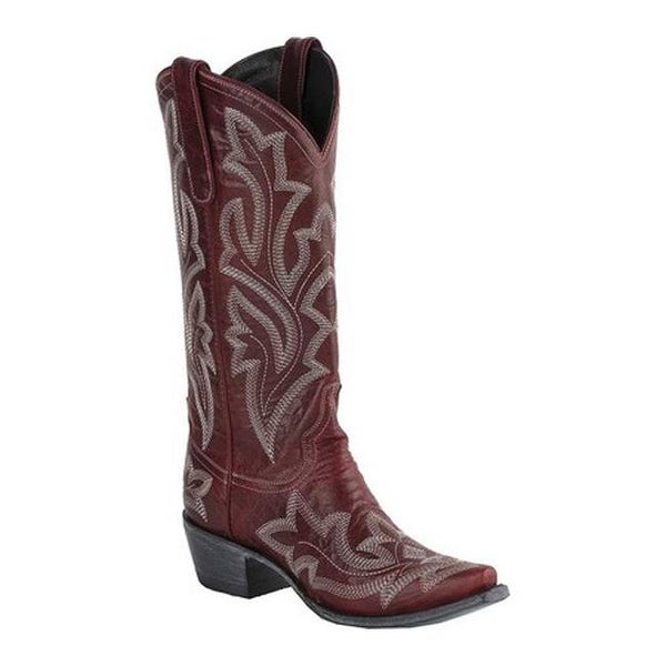 Lane Boots Women's Saratoga Cowgirl Boot Red Full Grain Leather