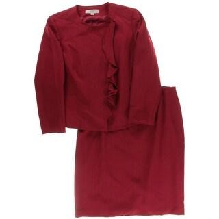 Tahari ASL Womens Plus Elin Asymmetric Ruffled Skirt Suit
